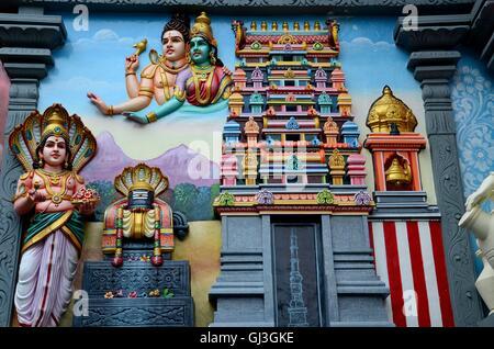 Hindu deities painting on wall mural of Sri Senpaga Vinayagar Tamil temple Ceylon Road Joo Chiat Katong Singapore - Stock Photo