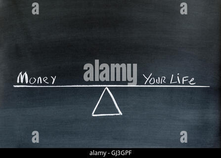 the words money and your life on a seesaw or scale in equilibrium drawn on chalkboard. - Stock Photo