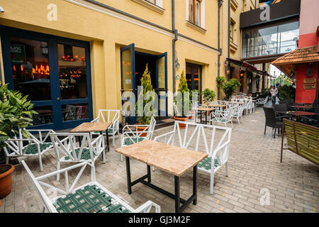 Tbilisi, Georgia - May 19, 2016: Cozy Outdoor Cafes In The Shardeni Street Of Old Town Tbilisi, Georgia. - Stock Photo