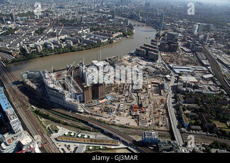 aerial view of Battersea developments by the River Thames, London SW8, UK - Stock Photo