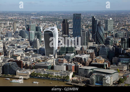 aerial view of the City of London square mile financial quarter including The Gherkin & Walkie Talkie building - Stock Photo