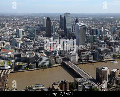 aerial view of the City of London skyline with Gherkin, Walkie Talkie and Cheese Grater buildings, UK - Stock Photo