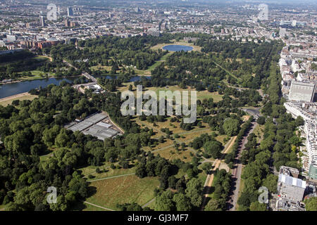 aerial view of Hyde Park in London, looking west from Marble Arch, UK - Stock Photo