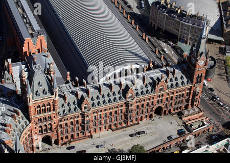 aerial view of St Pancras Station operated by Eurostar, in London, UK - Stock Photo