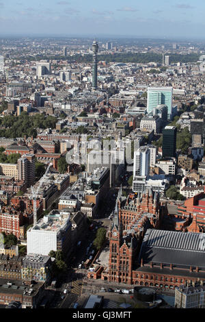 aerial view of St Pancras Station operated by Eurostar, looking towards BT Tower, London, UK - Stock Photo