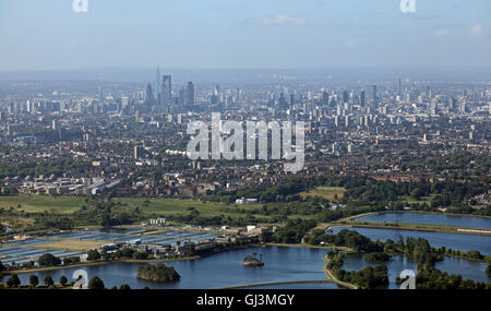 aerial view of the London Skyline from Lea Valley looking south west - Stock Photo