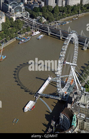 aerial view of The London Eye or British Airways Millennium Wheel on the bank of The Thames, UK - Stock Photo