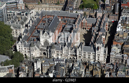aerial view of the Royal Courts of Justice containing the High Court & Court of Appeal in London, UK - Stock Photo