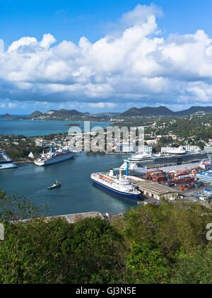 dh Castries ST LUCIA CARIBBEAN Lookout view CMV Marco Polo in Caribbean harbour - Stock Photo