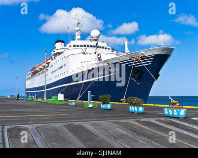 dh Marco Polo CRUISE SHIP CARIBBEAN cmv cruise liner berthed kingstown st vincent wharf pier in port - Stock Photo