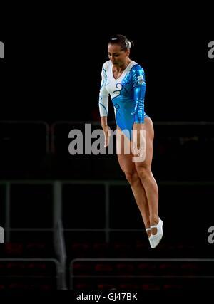 Rio de Janeiro, Brazil. 12th August, 2016. Nataliia Moskvina (UKR). Womens trampoline qualification. Rio Olympic - Stock Photo
