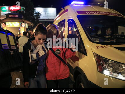 St Petersburg, Russia. 12th Aug, 2016. Passengers pictured during an emergency response exercise at Sportivnaya - Stock Photo