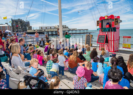 Aberystwyth Wales UK, Saturday 13 August 2016 UK Weather: Crowds of people and children enjoying watching a traditional - Stock Photo