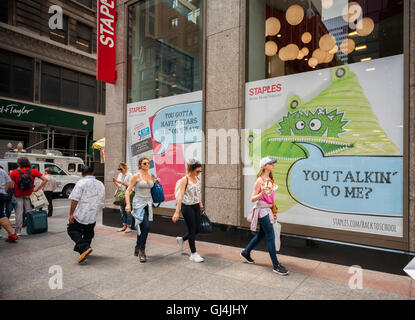 A back to school display is seen on the window of a Staples store in New York on Friday, August 5, 2016. Back-to - Stock Photo