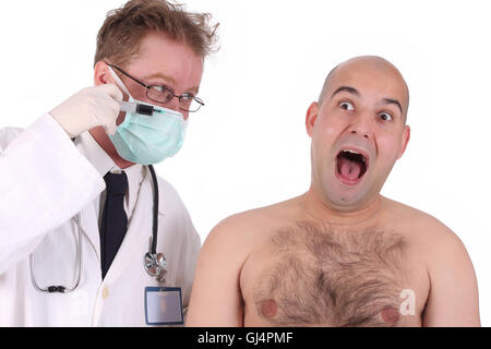 doctor injecting a funk patient - Stock Photo