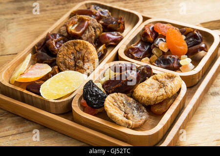 Mix of dried fruits, candied fruits with pistachio and almond nuts - Stock Photo