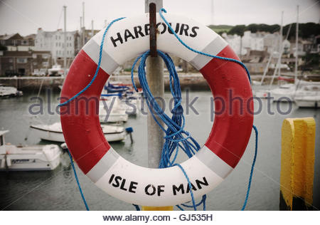 Life saving ring, at Port St.Mary harbour, the Isle of Man, British Isles. - Stock Photo