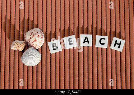 'Beach' letter tiles and sea shells still life - Stock Photo