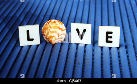 'Love' letter tiles and sea shell still life with blue background - Stock Photo