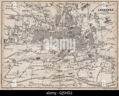 LAUSANNE Town City Stadtplan Switzerland Suisse Schweiz Carte - Lausanne city map