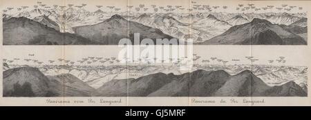PIZ LANGUARD PANORAMA. Bernina Roseg Monte Rosa Mont Blanc Cristallo, 1889 map - Stock Photo