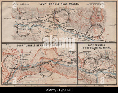 ST GOTTHARD RAILWAY SPIRAL/LOOP TUNNELS Wassen Freggio Prato Biaschina, 1893 map - Stock Photo