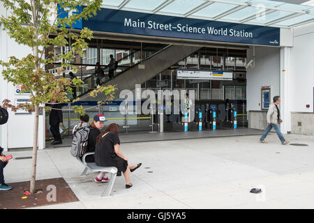 Skytrain Main street-Science World Station entrance, Vancouver British Columbia. - Stock Photo