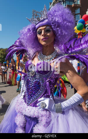 Pride parade participant dressed in a colourful costume, 2016 Vancouver British Columbia - Stock Photo