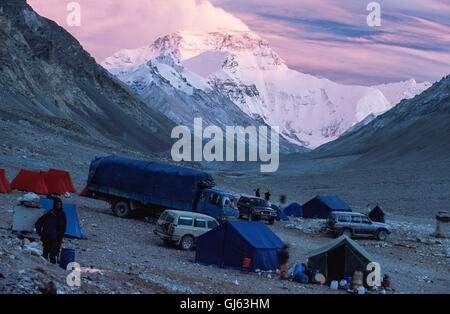 Mount Everest (8,848 metres ) looming up at the end of the valley viewed from Rongbuk Monastery at sunset with our - Stock Photo