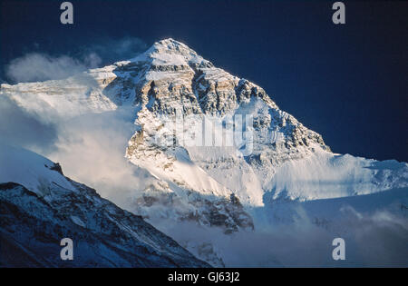 Mount  Everest  (8,848 metres)  viewed  from  Everest  Base  Camp  at  sunset. The  views  of  Everest's  North - Stock Photo