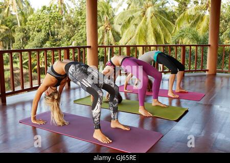 Three young women in flexible back pose at yoga class. Fitness female doing wheel pose. Chakrasana yoga position. - Stock Photo