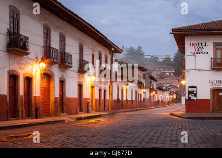 Tranquil street at dawn in the colonial village of Patzcuaro, Michoacan, Mexico. - Stock Photo