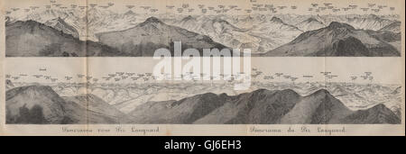 PIZ LANGUARD PANORAMA. Bernina Roseg Monte Rosa Mont Blanc Cristallo, 1893 map - Stock Photo