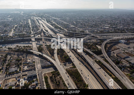 Los Angeles, California, USA - August 6, 2016:  Afternoon aerial of the Harbor 110 and Century 105 freeways interchange in South
