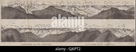 PIZ LANGUARD PANORAMA. Bernina Roseg Monte Rosa Mont Blanc Cristallo, 1897 map - Stock Photo