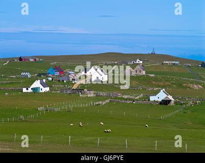 dh FAIR ISLE SHETLAND Croft cottage houses village Sheep Rock ...