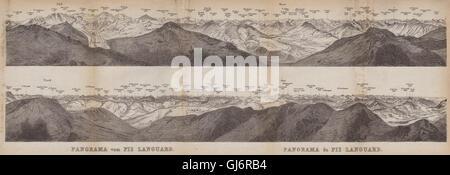 PIZ LANGUARD PANORAMA. Bernina Roseg Monte Rosa Mont Blanc Cristallo, 1899 map - Stock Photo