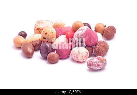 handmade candy mix isolated on white - Stock Photo