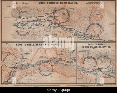 ST GOTTHARD RAILWAY SPIRAL/LOOP TUNNELS Wassen Freggio Prato Biaschina, 1901 map - Stock Photo