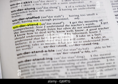 The word understand is highlighted and defined in a dictionary. - Stock Photo