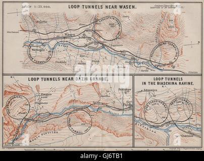 ST GOTTHARD RAILWAY SPIRAL/LOOP TUNNELS Wassen Freggio Prato Biaschina, 1905 map - Stock Photo