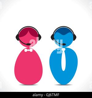 male female call center people icon vector - Stock Photo