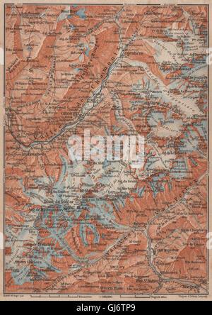 CHAMONIX & MONT BLANC MASSIF. Argentière Les Houches Courmayeur carte, 1905 map - Stock Photo