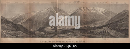 PANORAMA. MONT BLANC MASSIF from FLEGÈRE 1806m. Chamonix. Haute-Savoie, 1905 map - Stock Photo