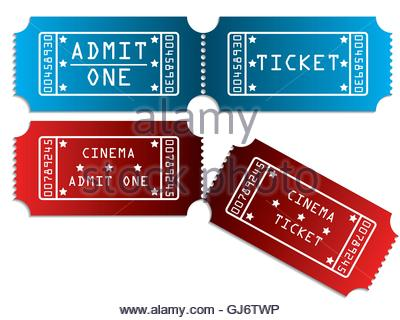 Various tickets in red and blue - Stock Photo