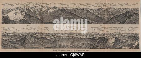 PIZ LANGUARD PANORAMA. Bernina Roseg Monte Rosa Mont Blanc Cristallo, 1905 map - Stock Photo