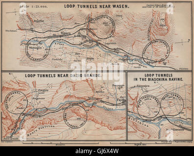 ST GOTTHARD RAILWAY SPIRAL/LOOP TUNNELS Wassen Freggio Prato Biaschina, 1907 map - Stock Photo
