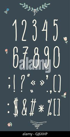 Hand drawn sketch numbers. Handwritten font. - Stock Photo