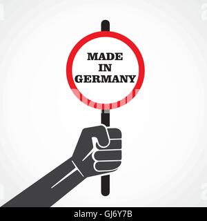 made in germany word banner hold ion hand stock vector - Stock Photo