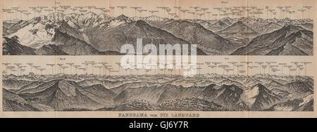 PIZ LANGUARD PANORAMA. Bernina Roseg Monte Rosa Mont Blanc Cristallo, 1907 map - Stock Photo